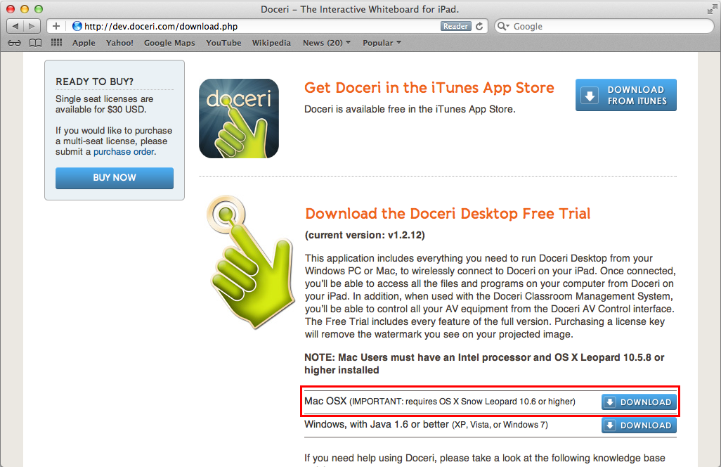Downloading and Installing Doceri Desktop for Mac